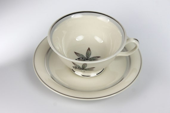 Footed Cup and Saucer, Castleton China, Glenwood, Blackberries Pattern, Bone China, Discontinued, Teacup