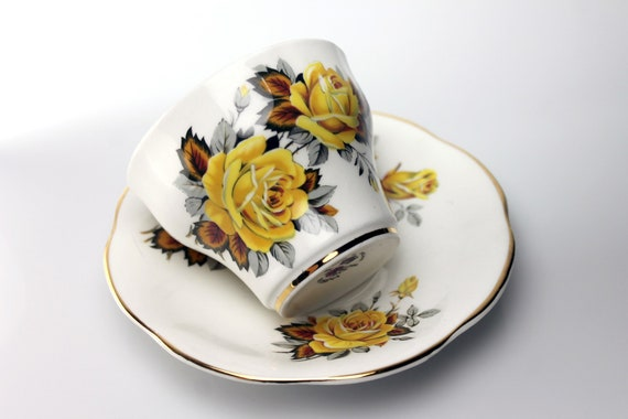 Footed Teacup and Saucer, Rosina, Fine Bone China, Yellow Rose, English Rose Series, Made in England, Gold Trimmed
