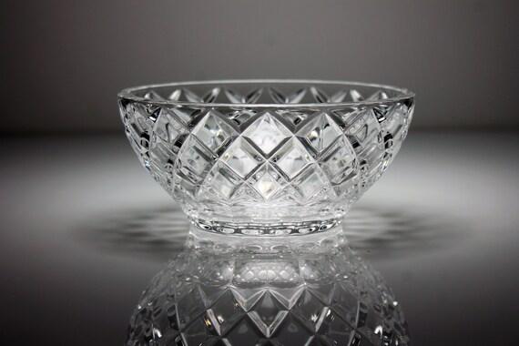 Lenox Crystal Sugar Bowl, Diamond, Open, Clear Glass, Discontinued