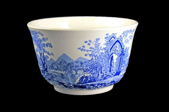 Rice Bowl, Taylor Smith & Taylor, English Abbey, Fairway, Embossed, Hard to Find, Blue and Cream Colored, Fine China
