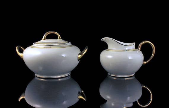 Antique, Sugar Bowl and Creamer, Ridgways England, Blue Flowers, Yellow Band, White Body, Gold Handle, Covered Sugar Bowl, Fine China