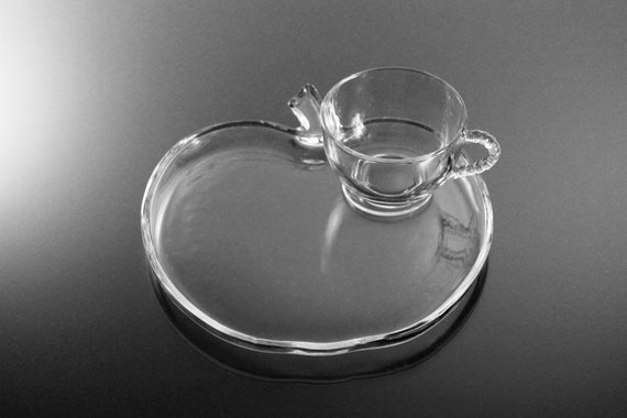 Snack Plate and Teacup, Hazel Atlas, Orchard, Snack Set, Luncheon Set, Clear Glass, Utility Ware
