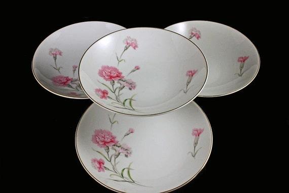 Coupe Soup Bowl, Royal Court China, Carnation Set of 4
