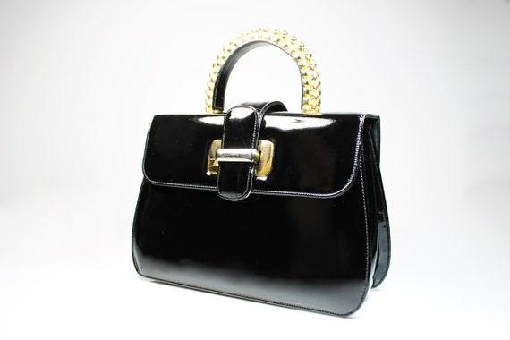 Milch Black Handbag, Patent Leather, Gold Top Handle, Dress Bag, Retro, Collectible