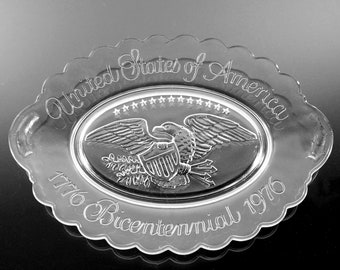Avon Collectible Bicentennial Platter, 1776, Display Plate, Eagle with Shield, Clear Pressed Glass, 9 Inch,
