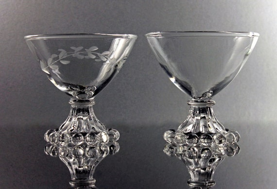 Boopie Champagne Glasses, Anchor Hocking, Tall Sherbet Glasses, Set of 2, Boopie Etched Glass, Boopie Clear Glass, Barware