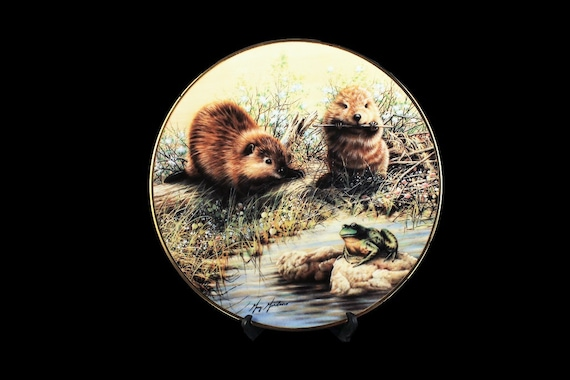 1991 Collectors Plate, The Hamilton Collection, Woodland Encounters, Beaver, Limited Edition, Decorative Plate, Wall Decor, New In Box