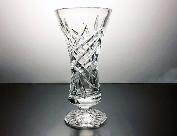 Crystal Footed Vase, Cut Glass Vase, Bud Vase, Fan and Crisscross, Leaded Crystal, Heavy, Wedding Gift