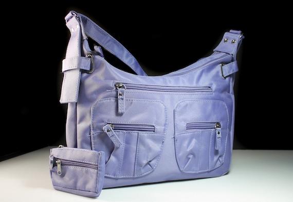 Purple Shoulder Bag, 2 Piece Set, Handbag, Zippered Side Compartments, Phone Pocket, White Interior
