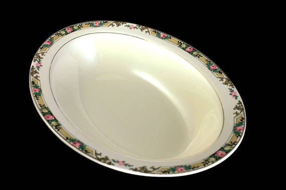 Oval Vegetable Bowl, Mount Clements, Floral Band, Pink Rose, Fine China, 9 Inch