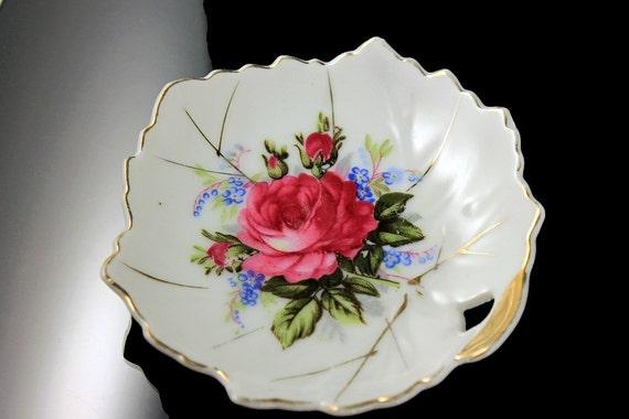 Small Leaf Shaped Bowl, Trinket Dish, Nut Bowl, Candy Dish, Rose Pattern