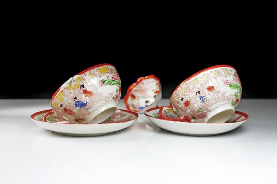 Teacups and Saucers, Eggshell Porcelain, Japan, Geisha, Red and White, Hand Painted, Set of 2, Salt Cellar