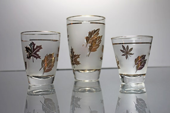 Libbey Golden Foliage Glasses, Set of 3, Frosted Glassware, Barware, Discontinued