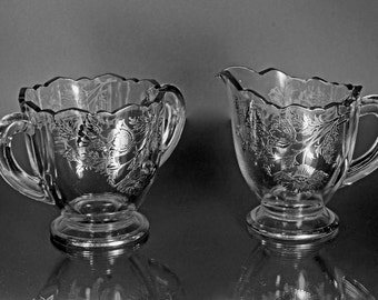Open Sugar Bowl and Creamer, Silver City, Flanders-Clear, Sterling Silver Overlay, Ruffled Edge, Footed Sugar Bowl and Creamer
