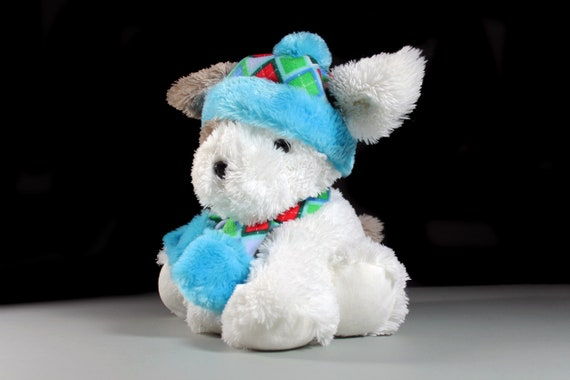 Plush Dog Stuffed Animal, Hugfun International, White, Child's Gift Idea, Baby Shower, Nursery Decor, Dog with Hat and Scarf