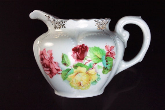 Creamer, Made In Germany, White, Pink Floral, Gold Trimmed, Porcelain