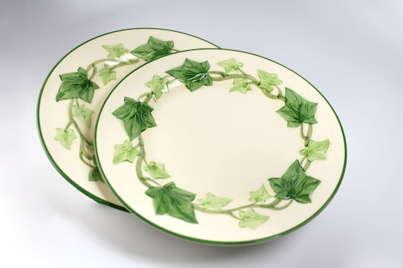 Salad Plates Franciscan California, Ivy, 8 Inch, Set of 2, Green and Cream