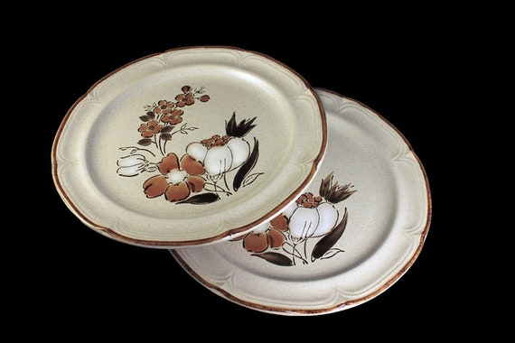 Stoneware Dinner Plates, HearthSide, Autumn Fair, Baroque, Floral Pattern, Set of 2, Brown and White