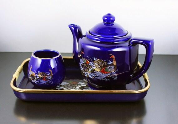 Decorative Cobalt Blue Teapot, Tea For One, Tea Set, Teapot with Tray, 3 Piece Set, Display Set