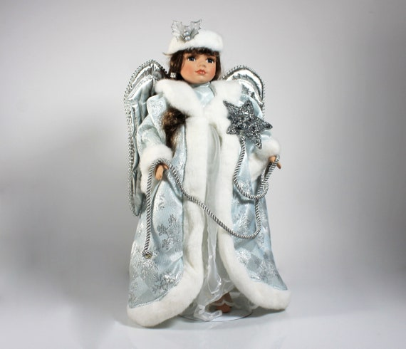 Dan Dee Porcelain Doll, Collectors Choice, Angel Christmas Doll, Holiday Doll, Blue and White, Stand Included, 16 Inch, Collectible