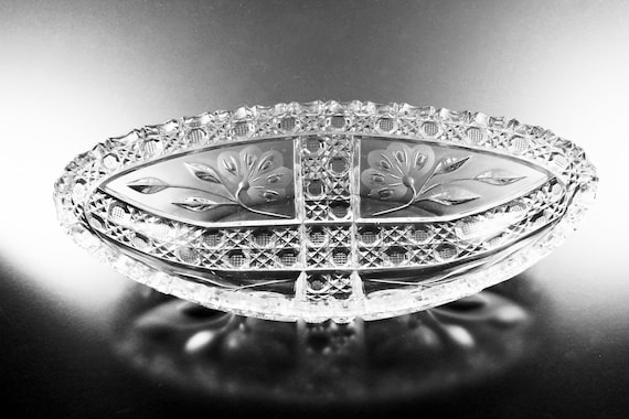 American Brilliant, Antique, Celery Bowl, Cut Glass, Oblong, Floral Wheel Cut, Clear, Collectible