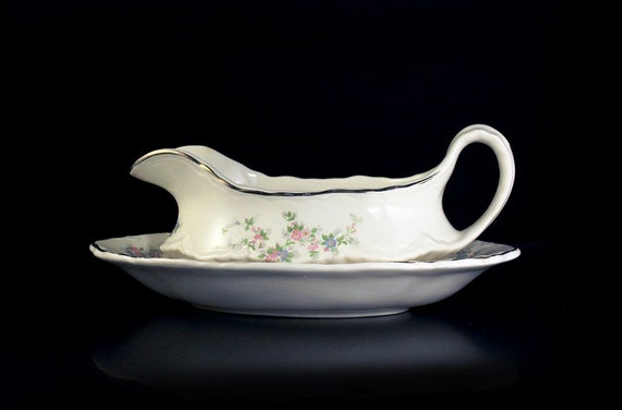 Gravy Boat, Homer Laughlin, Hudson Shape, Boat with Underplate, Pink Floral, White, Gold Trim,  Fine China