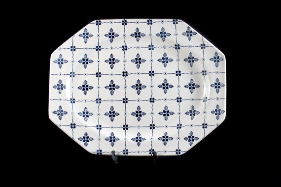 Platter, J & G Meakin, Homespun, Ironstone, 12 Inch, Blue Floral and Squares, Octagon