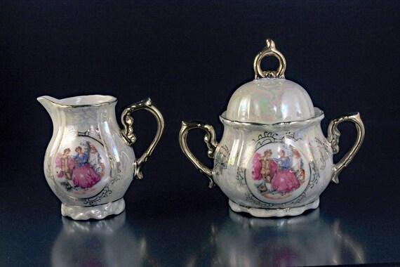 Sugar and Creamer, Portrait, Miniature, Lusterware, Porcelain, Gold Trim, Made In Japan, Display Pieces