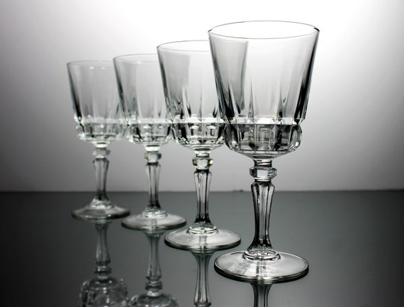 Crystal Wine Glasses, Lady Victoria, Chantelle, Set of 4, Block Cut, Barware