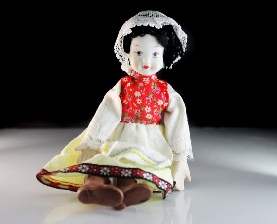 Display Doll, Hand Painted Bisque Porcelain, 9 Inch Doll, Wired Body, Poseable