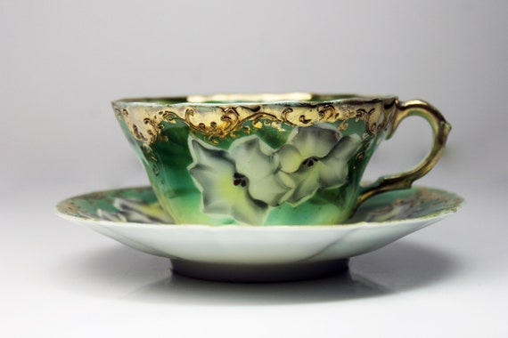 Antique Cup and Saucer, Teacup, Green, Floral, Gold Gilt, Thin Bone Porcelain