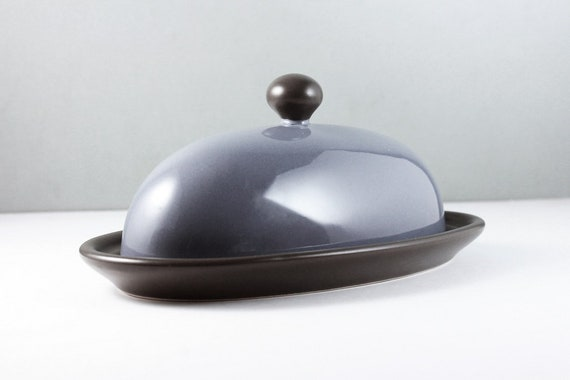 Pfaltzgraff Butter Dish, Mystic Pattern, Blue and Gray, Quarter Stick, Covered, Discontinued