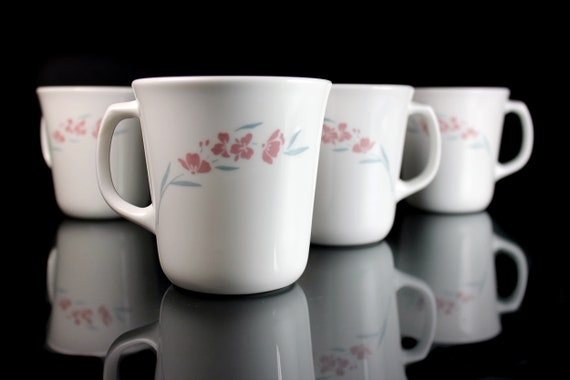 Mugs, Corning, Silk Blossoms, Corelle, Set of 4, 8 Ounce, White,  Pink Floral