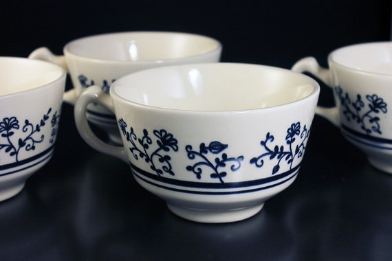Footed Cups, Homer Laughlin, Sturbridge, Set of 4, Blue and White, No Saucers