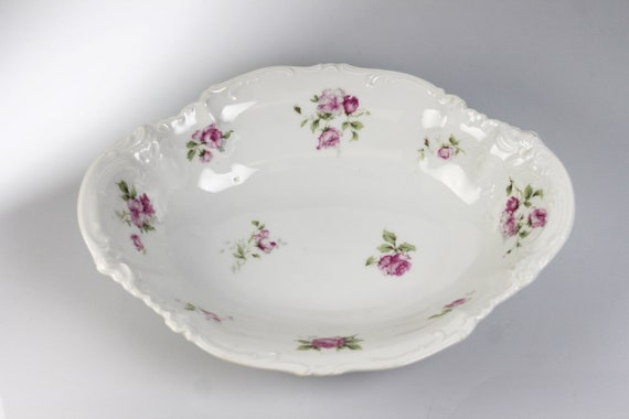 Antique Oval Vegetable Bowl, Carlsbad China, Made in Austria, Floral Pattern, Embossed, 10 Inch