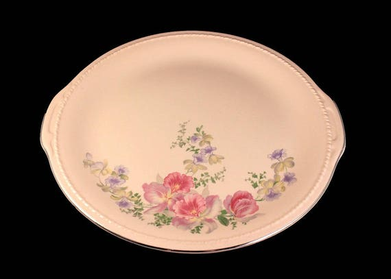 Cake Plate, Taylor Smith Taylor, Plymouth Shape, Floral Spray, Pink, Platinum Trim