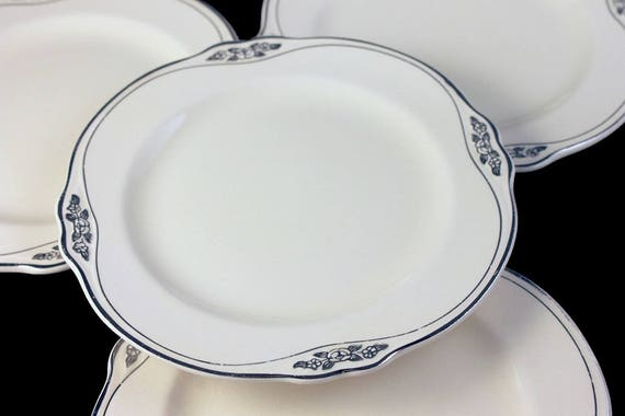 Bread and Butter Plates, Homer Laughlin, Silver Rose-Patrician, Platinum Florals and Trim, Virginia Rose Shape, Set of 4, Fine China