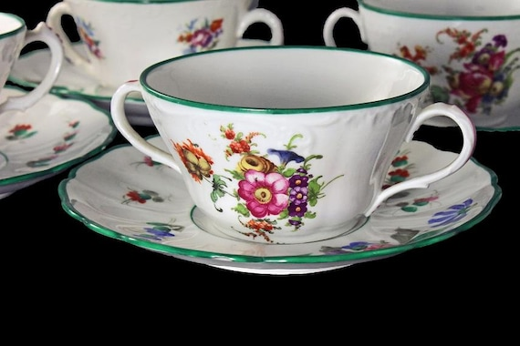 Antique Bouillon Cups and Saucers, Saxe Austria, Set of 4, 2 Handled Cups, Teacups and Saucers, Soup Bowls, Floral Pattern,  Green Edged