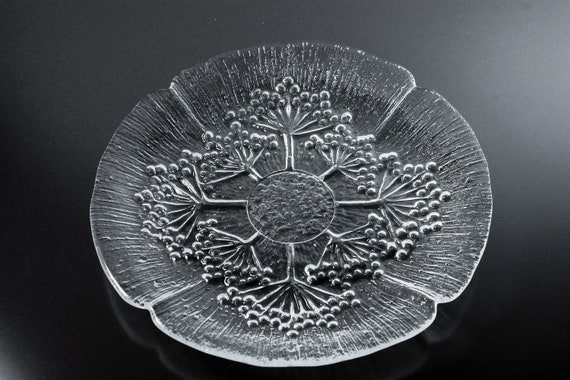 Dansk Floriform Plate, Salad Plate, Queen Anne's Lace, Pressed Glass, Clear Glass, 7 Inch, Textured Glass