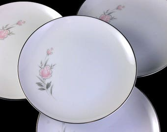 Bread and Butter Plates, Royal Court, Belle Rose, Pink Rose and Bud, Set of 4, Fine China