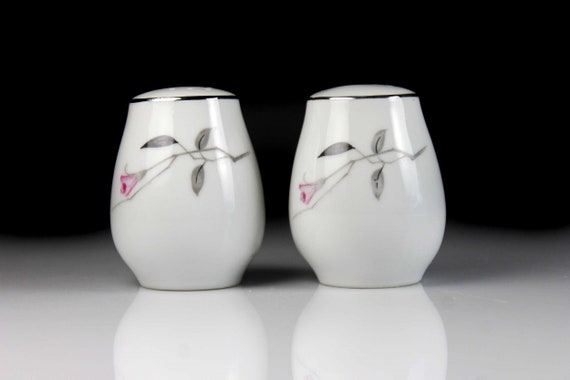 Salt and Pepper Shakers, Mid Century, Pink Floral, Fine China, Platinum Trim
