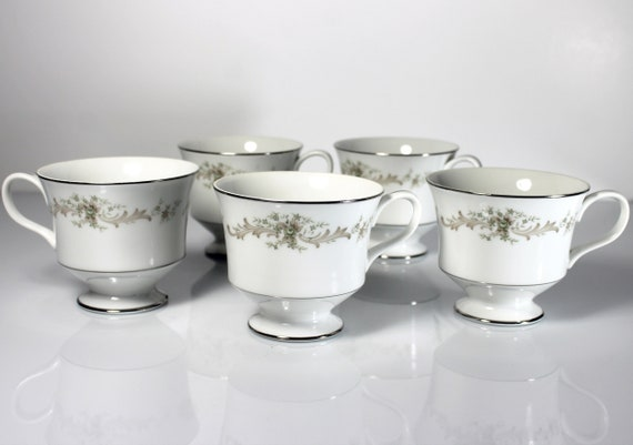 Cups, Sango China, Carousel, Set of 5, Fine China, Platinum Trim, Teacups, Dinnerware