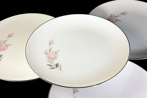 Salad Plates, Royal Court, Belle Rose, Pink Rose and Bud, Set of 4, Fine China