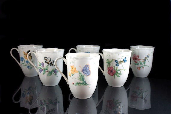 Mugs, Lenox, Butterfly Meadow, Set of 6, Various Designs, 10 Ounce, White, Floral