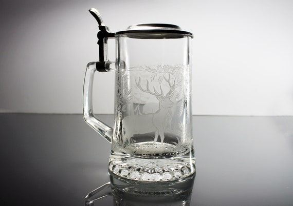 Lidded Etched Beer Stein, ALWE West Germany, Deer in Forest, Clear Glass, Lidded, Barware