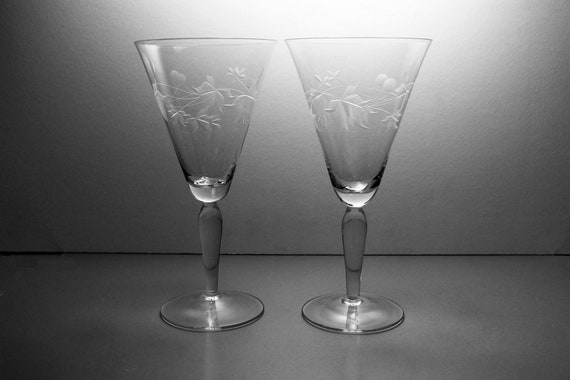 Wheel Cut Champagne Glasses, Leaf Design, Large, Set of Two, Barware