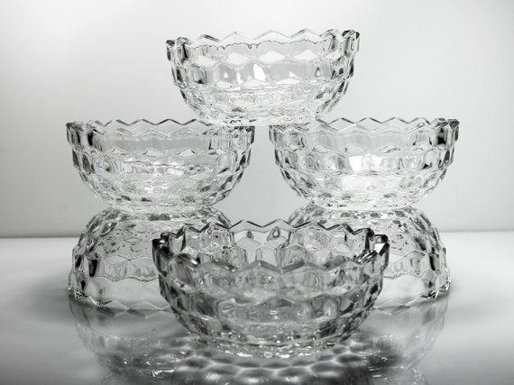 Fostoria Nappy Bowls, American, Set of 6, Dessert Bowls, Berry Bowls, Clear Glass, Cube Design