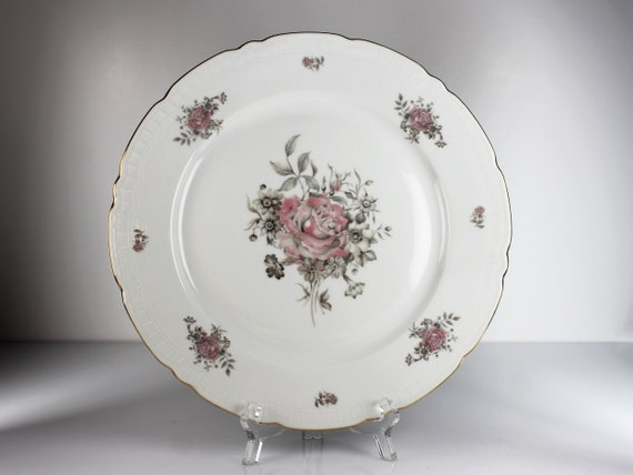 Dinner Plate, Fine Bohemian China, Made in Czechoslovakia, Maria Pattern, Pink and Gray Floral, Gold Trim, Embossed