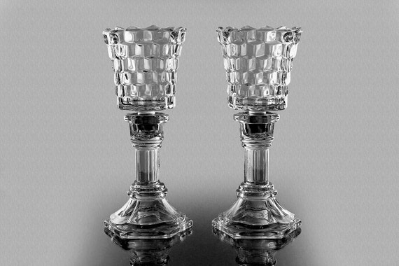2 Piece Candlestick, Etched Peg Votive Holder, Colony, Whitehall, Set of 2, Cubed Pattern, 2 Pink Taper Candles and  2 Tea Lites Included