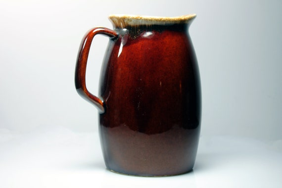 Pitcher Hull Ovenproof USA, Brown Drip, 32 Ounce (One Quart), Discontinued, Dripware